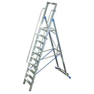Двураменна алуминиева стълба с голяма платформа Krause Stabilo 10