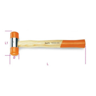 Чук с дървена дръжка и пластмасови кръгли глава и опашка, Т390 45, Beta Tools