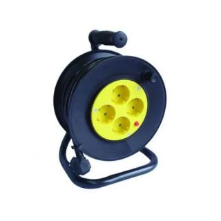 Макара с разклонител - 4 гнезда, със защита от прегряване и кабел - 25м