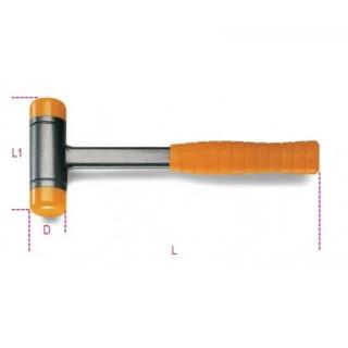 Чук с метална дръжка и пластмасови кръгли глава и опашка с гасене на отката, Beta Tools 1392 60