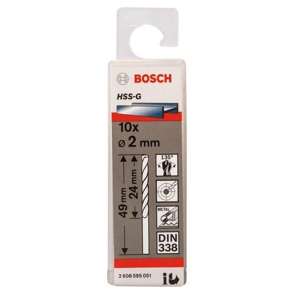 Свредло HSS-G за метал на Bosch 2.0 mm комплект 10 броя