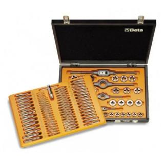 Комплект метчици, плашки и въртоци от хромирана стомана (110 бр) в дървена кутия, Beta Tools