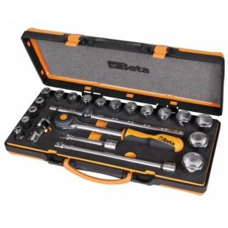 Комплект тресчотка, вложки и аксесоари в мека тава и метална кутия, 920A/C17MR, Beta Tools