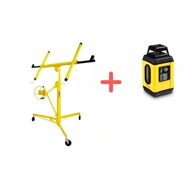 ПРОМО ПАКЕТ! Повдигач за монтаж на гипсокартон + Ротационен лазерен нивелир Trotec BD7A
