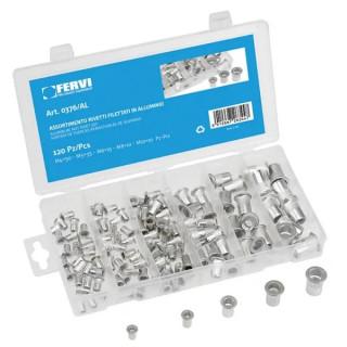 Гайка Fervi нит алуминиева комплект M4, M5, M6, M8, M10 мм, 120 бр.