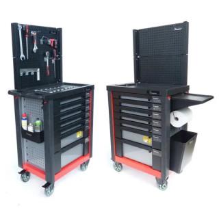 Оборудвана количка за инструменти, Knappwulf 7 чекмеджета + стелаж и допълнителни отделения