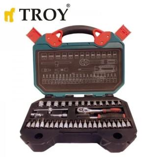Комплект тресчотка с вложки 1/2 и 1/4 TROY 26100 / 40 части
