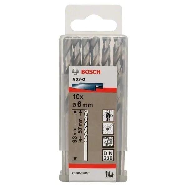 Свредло HSS-G за метал на Bosch 6.0 mm комплект 10 броя