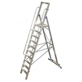 Двураменна алуминиева стълба с голяма платформа Krause Stabilo 14