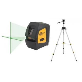 Лазерен нивелир, зелен, ±1mm/5m, 15m (до 50m със сензор), 2 лазерни лъча (+точка), IP54 + тринога (SJJ-M1)