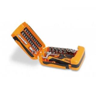 """Комплект вложки 900 (11 бр) и аксесоари (7 бр) на 1/4"""" в пластмасова кутия, 900/C39, Beta Tools"""