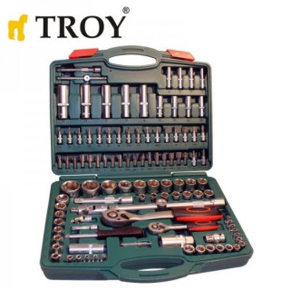 Комплект тресчотка с вложки 1/2 и 1/4 TROY 26102 / 108 части