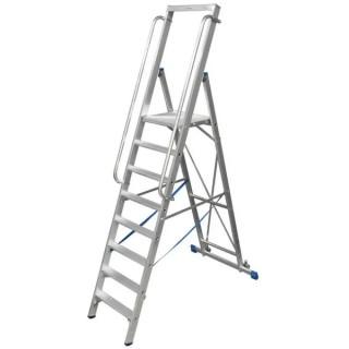 Двураменна алуминиева стълба с голяма платформа Krause Stabilo 9