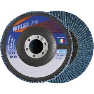 Диск Fervi ламелен от шкурка за шлайфане на метал и неръждаема стомана 125х22.23 мм, P60, Riflex Bigger