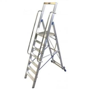Двураменна алуминиева стълба с голяма платформа Krause Stabilo 6
