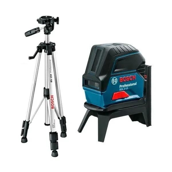 Нивелир Bosch лазерен линеен/точков 15 м, 0.3 мм/м, GCL 2-15