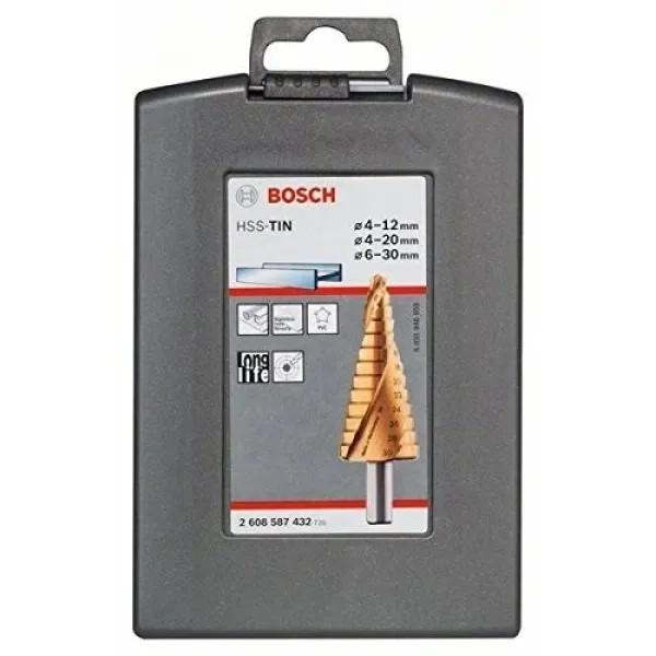Стъпаловидно свредло HSS-TiN на Bosch 4-12, 4-20, 6-30 mm-3 броя
