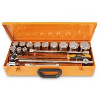 """Комплект вложки 928A (12 бр) и аксесоари (5 бр) на 3/4"""" в метална кутия, 928A/C12, Beta Tools"""