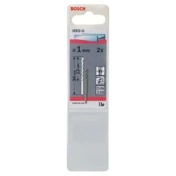 Свредло HSS-G за метал DIN 338 на Bosch 1.0 mm 2 броя