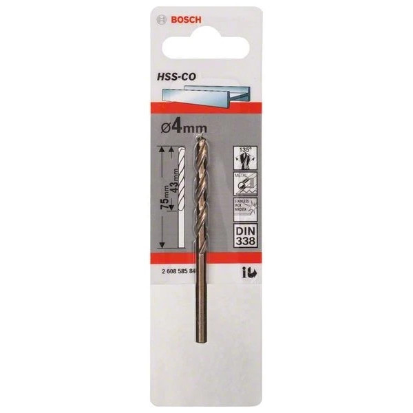 Свредло HSS-Co DIN 338 за метал на Bosch 4.0 mm