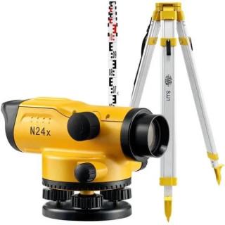 Оптичен нивелир, 24x, 2,0mm/1km, IPX6, телекоскопична лата (TS-50) и тринога (SJJ1)