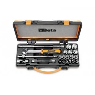 """Комплект вложки 910A (16 бр) и аксесоари (5 бр) на 3/8"""" в метална кутия, 910A/C16, Beta Tools"""