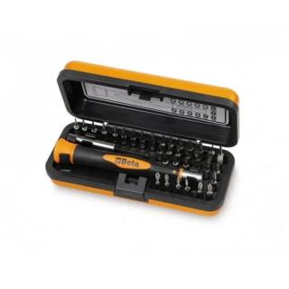 Комплект микро-отвертка с Bi-material дръжка, битове (32 бр) и държач магнитен в метална кутия Beta Tools 1256/C