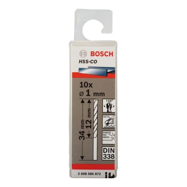 Свредло HSS-Co Standard line за метал на Bosch 1.0 mm - 10 броя