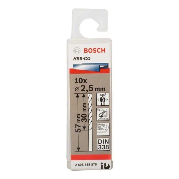 Свредло HSS-Co Standard line за метал на Bosch 2.5 mm - 10 броя