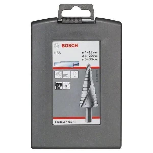 Стъпаловидно свредло HSS на Bosch 4 - 12 mm комплект 3 броя