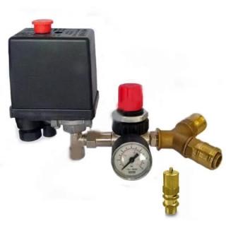 Комплектът редуцир вентил с манометър, предпазен изпускателен клапан, две бързи връзки и присъединителен отвор 1/4 цолова вътреш