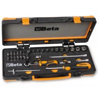 Комплект тресчотка, вложки, накрайници и инструменти в метална кутия, 900/C12M, Beta Tools