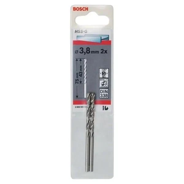 Свредло HSS-G за метал DIN 338 на Bosch 3.8 mm 2 броя